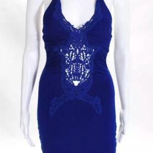 SKY Marine Blue Short Crochet Halter Dress